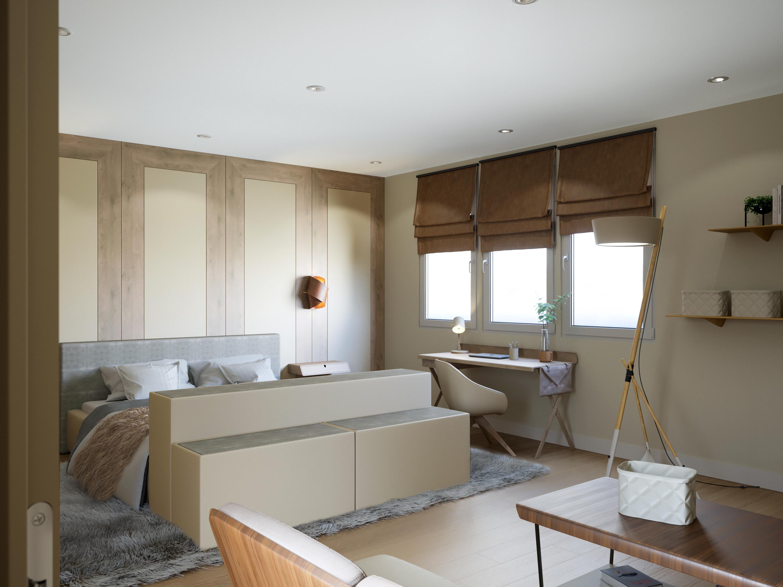 Chambre avec mobilier en cuir lisse & Galuchat