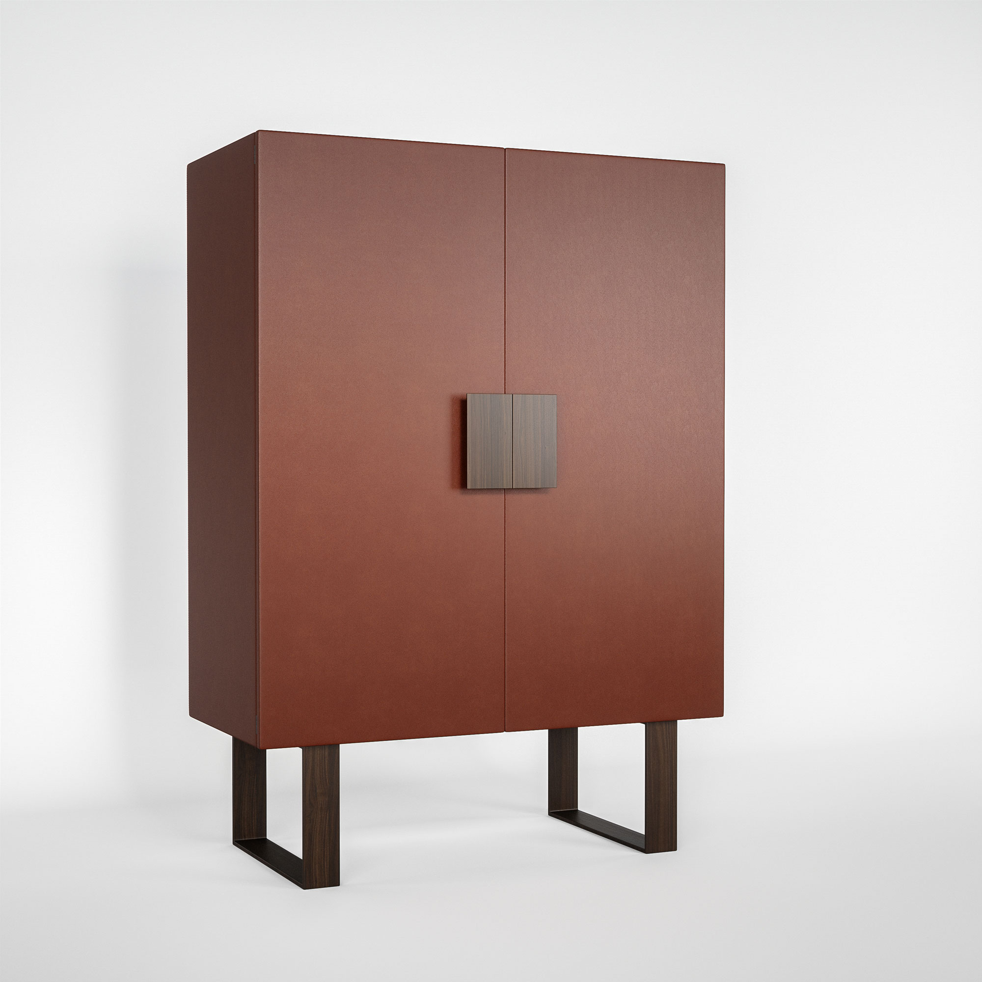 Organic tanned leather cabinet